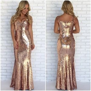 🆕Night Away Rose Gold Sequin Maxi Gown